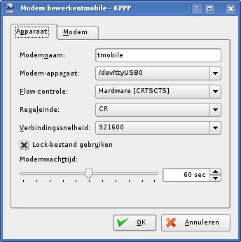 KPPP modem selecteren